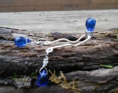 Clit Stimulator- Cobalt Blue Faceted Crystal and Sterling Silver Wire Secret Clit Charm-Mature