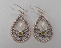Balinese Sterling silver dangle Earrings / peridot / seed pearl /  silver 925 / Bali handmade Jewelry / 1.9 inch long