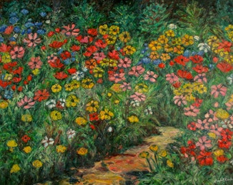 Natural Rhythm 40x30 Impressionist Landscape  Painting of Wildflowers by Award Winning Artist Kendall Kessler
