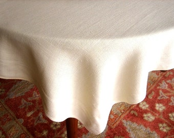 Vintage TABLECLOTH Cream Creamy Flesh Tone Smooth Solid Linen Cafe Table Cloth