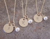 Dainty Gold Initial necklace - MINI Gold disc necklace - TINY genuine birthstone jewelry - Photo NOT actual size