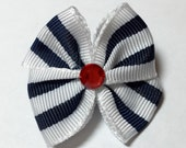 Dark Blue Striped Dog Grooming Hair Bow with Red Rhinestone Center