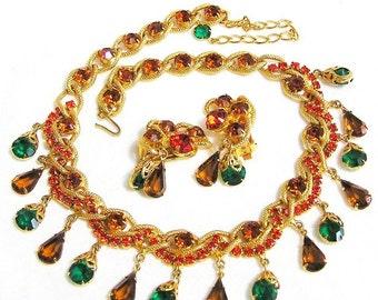 Stunning Orange Green Amber Necklace Earring Set