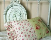 Small Roses Large Roses Go Green with Shabby Chic Pillow