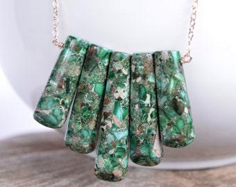 Gemstone Row Necklace, Rose Gold Filled, Emerald Green Gemstone Fringe Necklace, Statement Jewelry, Long Necklace, Tribal, Boho, Gypsy