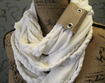 SALE!! Leather Wrapped Cream Braided Infinity Scarf