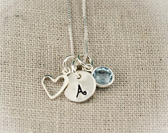 Tiny Initial and Heart Necklace in Sterling Silver Hand Stamped Personalized Jewelry