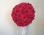 Red Kissing Ball Rose Pomander Tall Centerpiece Weddings