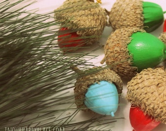 Handmade acorn ornament or charm, real painted oak acorn frozen Christmas