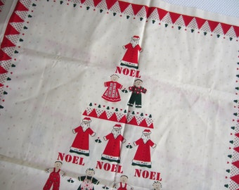 1988 Circle of Friends Christmas Wall Hanging Fabric Panel Vintage Noel