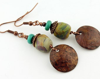 Lampwork Earrings Antique Copper Beaded Jewelry Boho Long Dangle Turquoise 'Before the Rain'