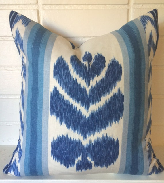 Blue Striped Throw Pillow Cover : Blue IKAT and stripe Pillow Cover accent pillow toss pillow