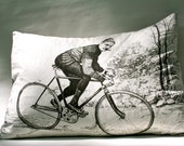 Hand Made Antique Bike Racer Pillow 24 x 18 Bicycle Rider