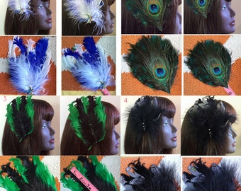 Burlesque Feather Fascinator Choose Style at Checkout!
