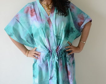 Teal Nursing Maternity Hosptial Gown Delivery Kaftan-Perfect as loungewear as getting ready as beachwear, gift for moms and to be moms