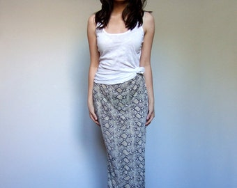 Maxi Skirt Snakeskin Fitted Vintage 90s Long Skirt Animal Print Stretchy Reptile - Extra Small XS S