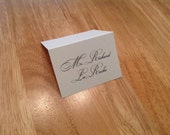 Simple elegant Place cards. Escort cards. Black and white. Folded card. Wedding. Bar mitzvah. Corporate party. Holiday.