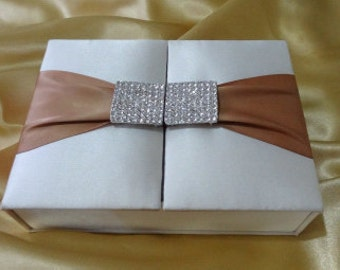 Ivory and Champagne Invitation box with Rhinestone Brooch; luxury, couture invitation, wedding invitation holder,