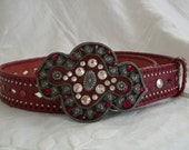 Vintage Red Tooled Leather Belt Studded Huge Rhinestone Buckle Will Fit Waist Size 25 - 34 Inches Awesome!