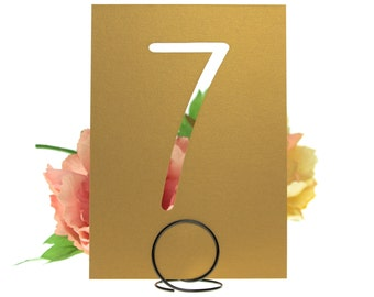Old Gold Shimmer Laser Cut Reception Table Number Cards