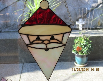 Hanging Stained Glass Santa Claus