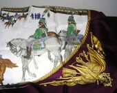 Pure Silk  Hermes Scarf  Marine et Cavalerie   Signed by the Artist Ledoux