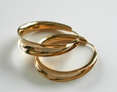14k Yellow Gold Continuous Hoop Earrings Handmade