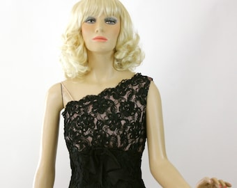 Vintage 60s Cocktail Dress Black One Shoulder Illusion Wiggle Dress w Soutache Ribbon Bust 36