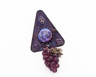 Statement Brooch/Pendant Patina Brass Dragon's Breath Opal Swarovski Crystal Czech Glass Purple Violet Red Victorian Goth Steampunk OOAK