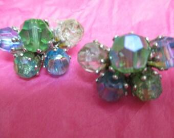 vintage costume jewelry  /  clip back earrings