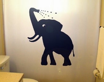 Bathing Baby Elephant Shower Curtain Bathroom Decor Kids Bath Cute Children Shower Curtains Custom Stall Extra Long Wide Size Colors