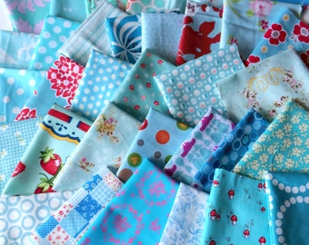Designer Fabric SCRAP PACK in Aqua, 20 pieces