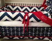 REd Navy Chevron and Anchor Baby bedding Crib set READY TO SHIP