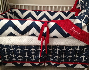 REd Navy Chevron and Anchor Baby bedding Crib set DEPOSIT ONLY