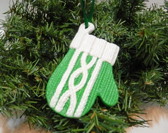 Hand Painted Green Cable Knit Mitten Ornament