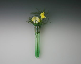 Glass Wall Vase - Handblown Glass Wall Pocket- Lampwork Bud Vase - Boro
