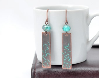 One of a Kind Metalstamped Copper and Turquiose Earrings