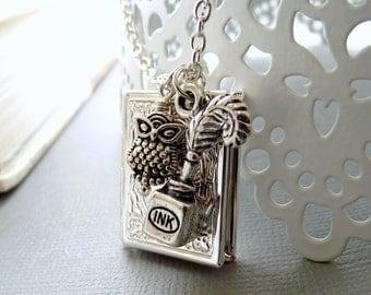 Silver book locket necklace, owl locket, book lover necklace