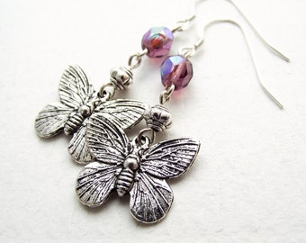 butterfly earrings, silver and purple earrings, dangle earrings