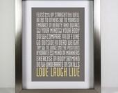 Everyday Life Reminders Print 5x7 Word Art Subway Art Live Laugh Love