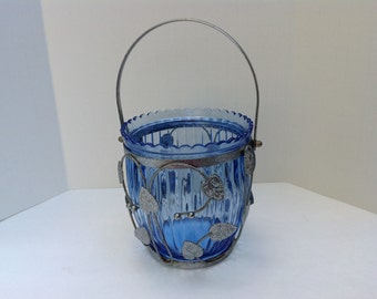 Cobalt Blue Vase Enclosed in Silver Leaves with Silver Handle
