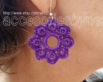 Cotton Crochet Earrings, Purple Earrings, Dangle Earrings, Crochet Jewelry, Crochet Earrings