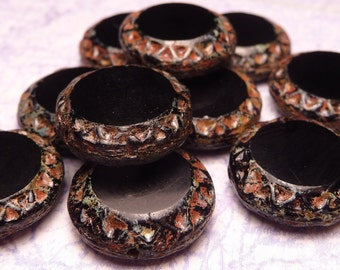 Black Glass Coin Beads 15mm - 4pc