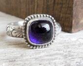 Amethyst Ring, Sterling Silver, Purple Gemstone, Birthstone Ring, Silver Floral Band, Western Jewelry