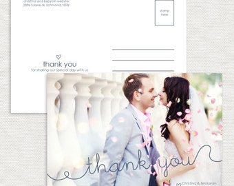 squiggle photo wedding thank you card - printable - customised personalised file modern thanks hand-written calligraphy simple stationery