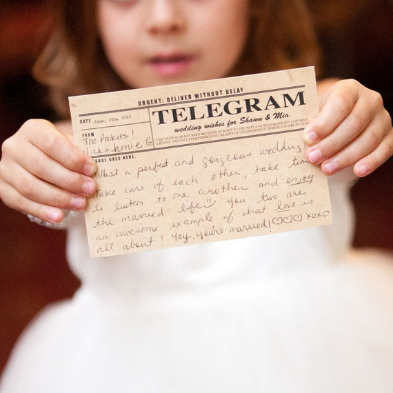 vintage telegram wedding guest book cards - printable file - unique guest book ideas, retro, wedding advice, message to bride and groom, old