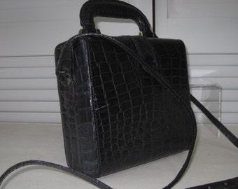vintage Black Moc Croc Leather Handbag