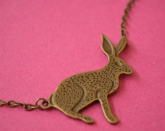 Hare Necklace Wicca Wiccan Pagan Gothic Samhain Antique Bronze