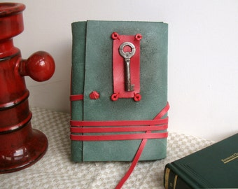 journal in green  and red with vintage skeleton key and vintage style pages - Secret
