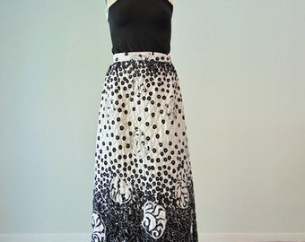 70s black and white MAXI SKIRT by Alex Coleman size m/l